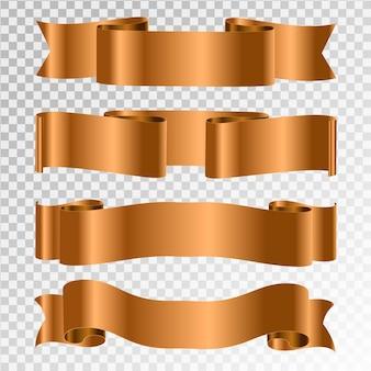 Conjunto de vetor de fitas douradas.