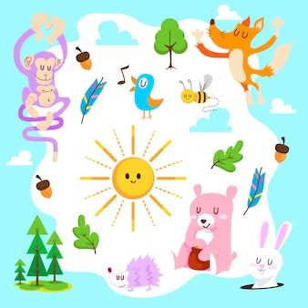 Conjunto de vetor de floresta animal bonito