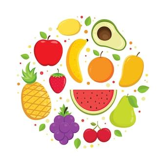 Conjunto de vetor de frutas coloridas dos desenhos animados