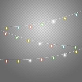Conjunto de vetor de guirlanda de iluminação de cor diferente isolado em fundo transparente. coleção de vetores de luzes de natal. conjunto de vetores de lâmpadas brilhantes