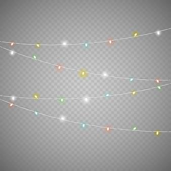 Conjunto de vetor de guirlanda de iluminação diferente isolado em fundo transparente. coleção de vetores de luzes de natal. conjunto de vetores de lâmpadas brilhantes