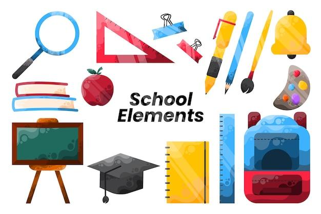 Conjunto de vetor de ícone de elementos escolares coloridos