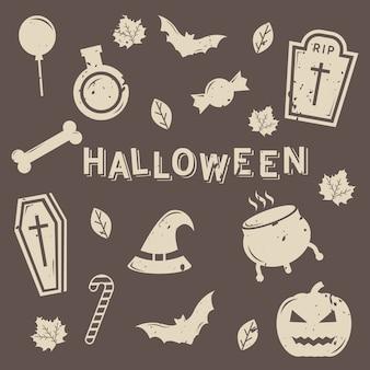 Conjunto de vetor de ícone isolado de halloween