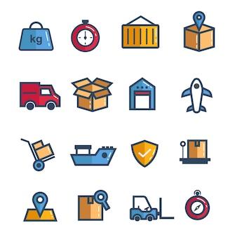 Conjunto de vetor de ícone logístico