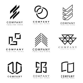 Conjunto de vetor de idéias de design de logotipo de empresa