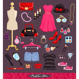 Conjunto de vetor de itens de moda