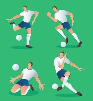 Conjunto de vetor de jogador de ação de futebol de personagens