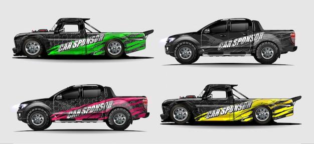 Conjunto de vetor de kit gráfico de veículo. abstrato moderno para carro embrulho branding e etiqueta do automóvel decalques libré