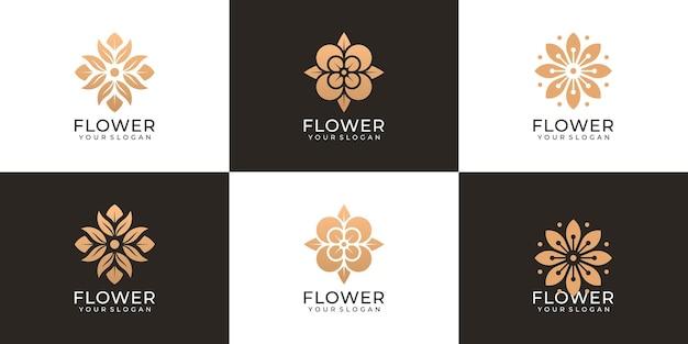 Conjunto de vetor de logotipo criativo de moda flor feminina natural