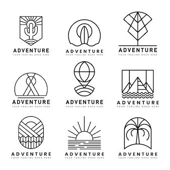 Conjunto de vetor de logotipo de aventura