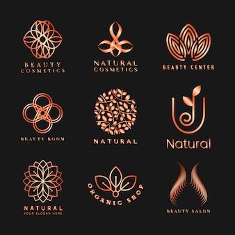 Conjunto de vetor de logotipo de cosméticos naturais