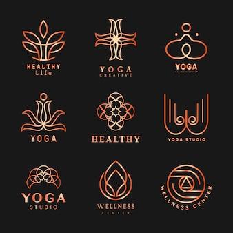 Conjunto de vetor de logotipo de ioga