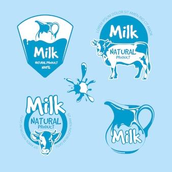 Conjunto de vetor de logotipo de produtos de fazenda leite e laticínios. ilustração orgânica de bebida natural fresca