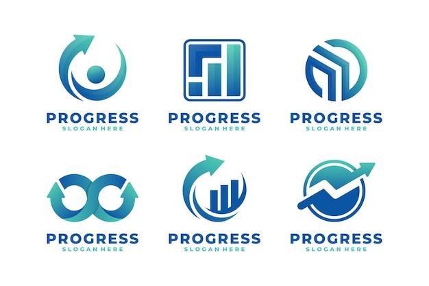 Conjunto de vetor de logotipo gradiente de progresso