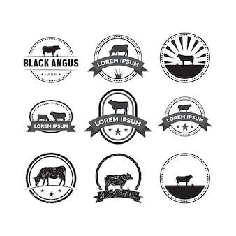 Conjunto de vetor de modelo de design de logotipo de vaca
