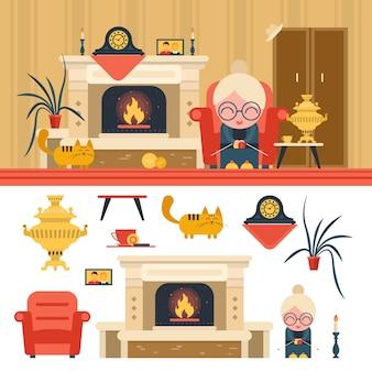 Conjunto de vetor de objetos interiores de sala de estar de casa. avó sentada na cadeira ao lado da lareira.