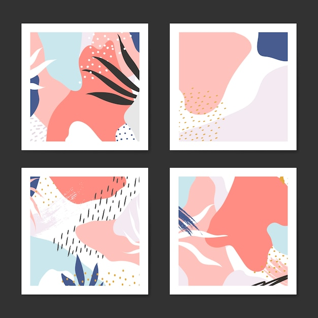 Conjunto de vetor de origens de estilo colorido de memphis