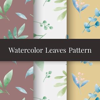 Conjunto de vetor de padrões de folha em aquarela