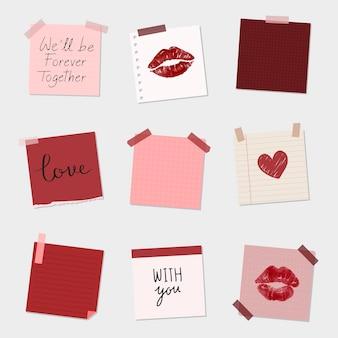 Conjunto de vetor de papel de carta de amor