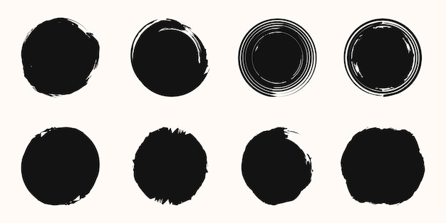 Conjunto de vetor de pincelada de círculo isolado no fundo branco.