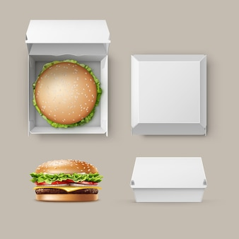 Conjunto de vetor de realista vazio em branco branco embalagem caixa recipiente para marca com hambúrguer classic burger american cheeseburger close-up vista lateral superior isolada no fundo branco. comida rápida