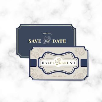 Conjunto de vetor de rótulo de convite de casamento vintage