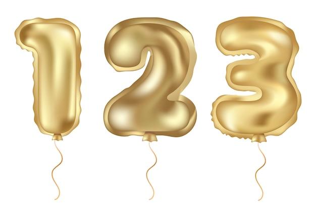 Conjunto de vetor dourado de balão realista