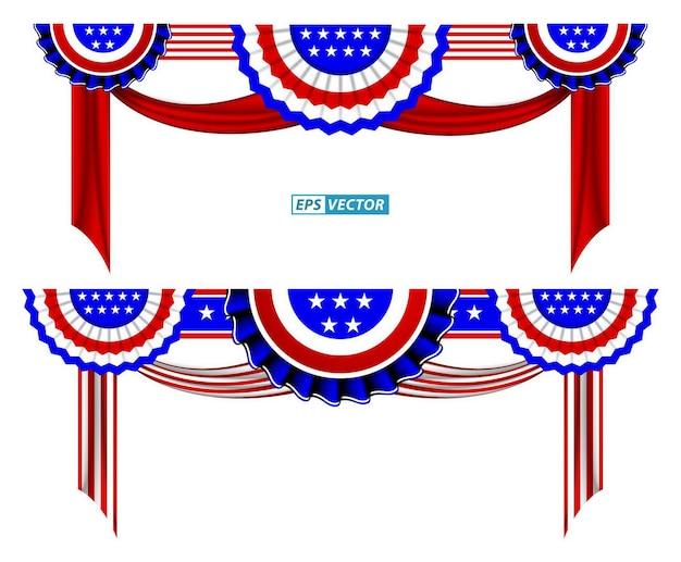 Conjunto de vetor eps isolado de clipart de bandeira americana