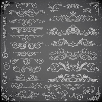 Conjunto de vetor escuro de elementos de redemoinho para design de moldura