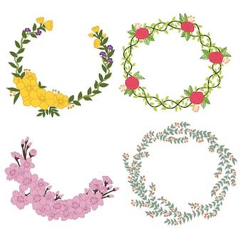 Conjunto de vetor floral mão desenhada. ilustração vetorial.