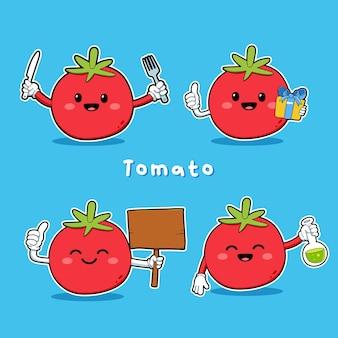 Conjunto de vetor fofo de personagem de tomate em ação diferente, emoção isolada sobre fundo azul