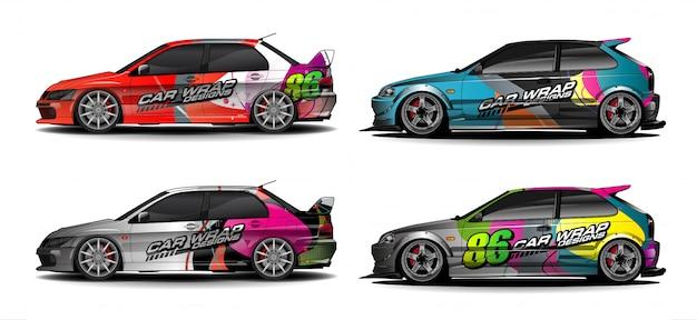 Conjunto de vetor gráfico de carro. colorfull abstrato com fundo de forma curvada para envoltório de vinil de veículo