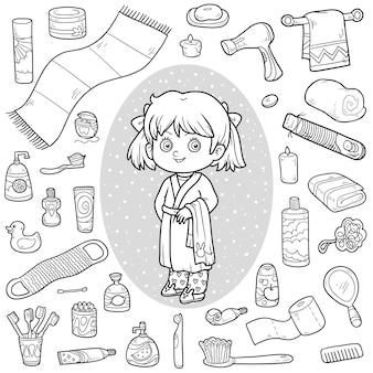 Conjunto de vetor incolor de objetos de banheiro, menina e roupão de banho