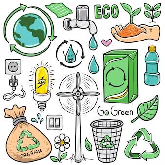 Conjunto de vetor mão desenhada cartoon eco reciclar doodle elementos isolados