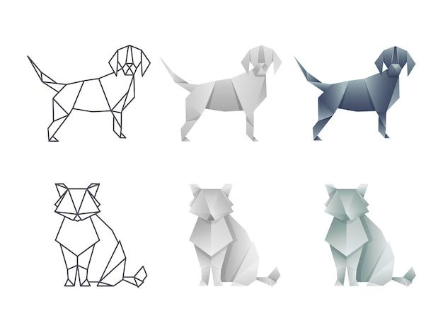 Conjunto de vetor origami japonês gato e cachorro