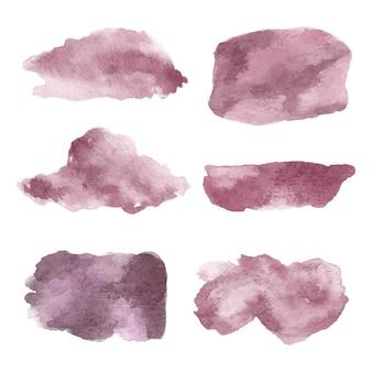 Conjunto de vetor pintado à mão em aquarela grunge