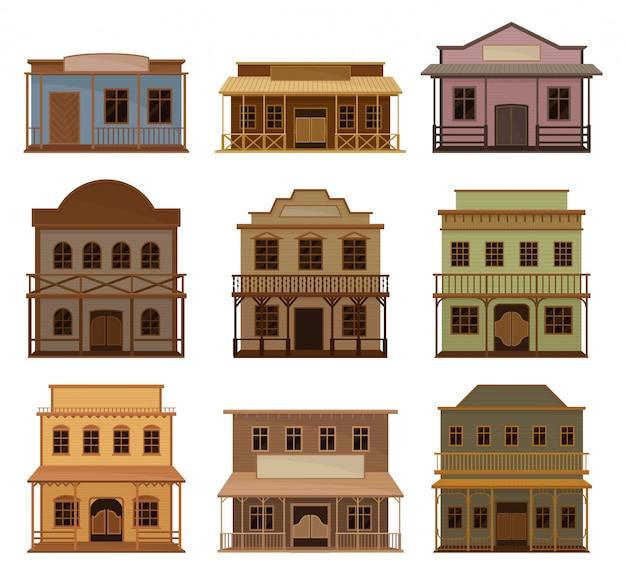 Conjunto de vetor plana de casas de madeira ocidentais.
