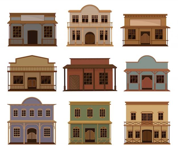 Conjunto de vetor plana de casas ocidentais.