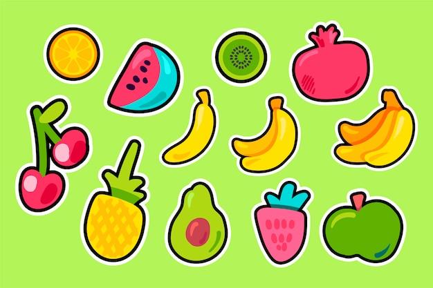 Conjunto de vetor plana de frutas tropicais