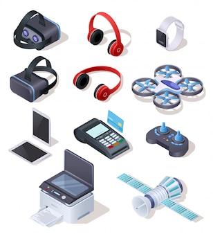 Conjunto de vetor realista de equipamentos eletrônicos modernos