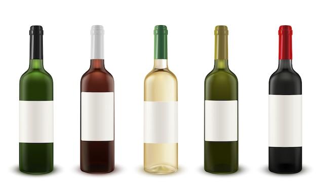 Conjunto de vetor realista de garrafas de vinho de várias cores de vidro.