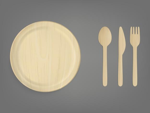 Conjunto de vetor realista de utensílios de mesa descartáveis de madeira Vetor grátis
