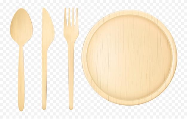 Conjunto de vetor realista de utensílios de mesa descartáveis de madeira