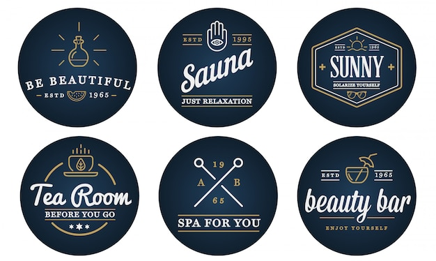 Conjunto de vetor spa beleza yoga esporte elementos ilustração pode ser usado como logotipo ou ícone em qualidade premium