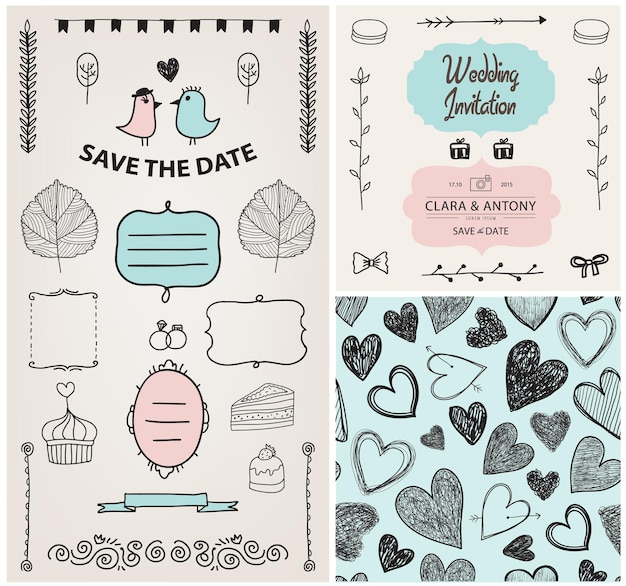 Conjunto de vetor vintage, elementos de design de convite de casamento desenhado à mão