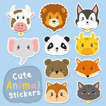 Conjunto de vetores adesivos animais fofos
