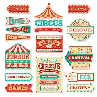 Conjunto de vetores antigos banners de circo de carnaval e etiquetas de carnaval