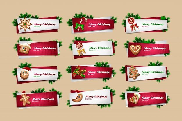 Conjunto de vetores banners de ano novo