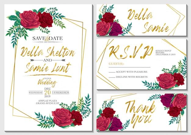 Conjunto de vetores cartão de convite de casamento com rosas e modelo de plano de fundo dourado
