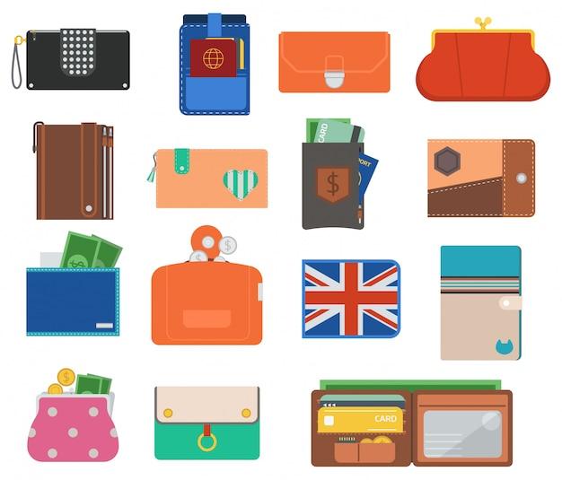 Conjunto de vetores carteira aberta bolsa.
